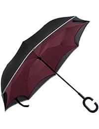 Paraguas Invertido con la Raya Reflexiva,Doble Capas Protección UV a Prueba de Viento Paraguas Reverso ,Innovador C-Formó la Manija Lo Mejor Para Viajar y usar Coche