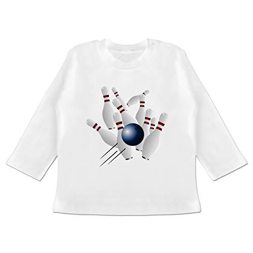 Sport Baby - Bowling Strike Pins Ball - 3-6 Monate - Weiß - BZ11 - Baby T-Shirt Langarm