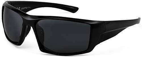 La Optica B.L.M. UV400 CAT 3 Unisex Damen Herren Sonnenbrille Sport Leicht Angeln - Einzelpack Glänzend Schwarz (Gläser: POLARISIERT Grau)