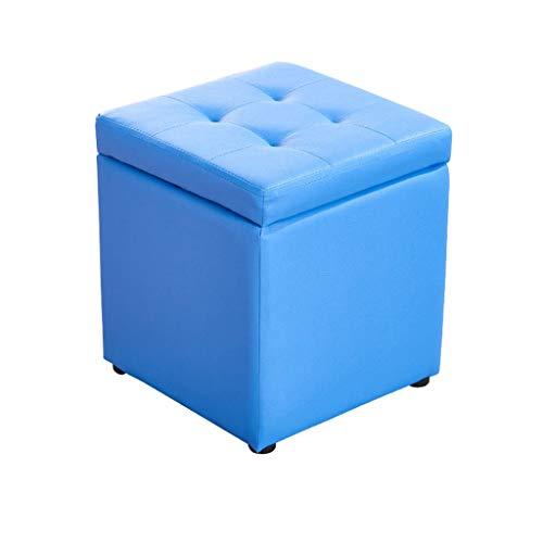 Shafadeng Platz Leder Sofa Hocker Hause Multifunktions Ruhe Sitz Hocker Fußstütze Ändern Schuh Hocker Stabile Solide Mode Umweltschutz (L30 * W30 * H35 Cm) ( Color : Blue , Size : L30CMXW30CMXH35CM ) - Leder-sofa Platz