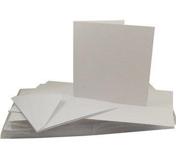 Craft UK - Biglietti di auguri vuoti effetto lino con buste, 15,2 x 15,2 cm, confezione da 50, colore: Bianco