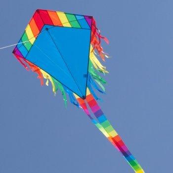 Maya Eddy Blue - Einleiner-Flugdrachen für Kinder ab 3 Jahren - 65x74cm - inkl. 80m Drachenschnur und 2x250cm Streifenschwänze ()