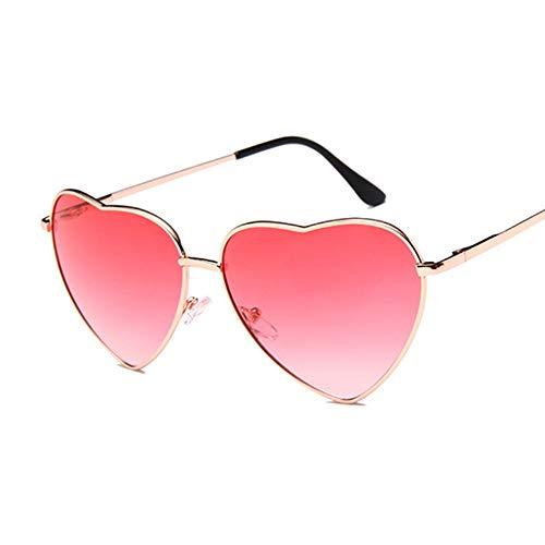 QDE Sonnenbrillen Damen Heart Shaped Sonnenbrillen Frauen Randlose Love Clear Metal Ocean Linsen Sonnenbrille Uv400, Doppel Rot