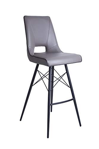 Meubletmoi Tabouret de Bar Design Moderne Simili Taupe - piétement Design Acier Noir - Chaise Haute élégante et Confortable - Vogue