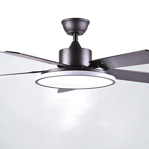 /56 Zoll Schwarz Silent Deckenventilator mit LED-Licht-Kit, 5 hölzerne Lüfterflügel, Lampenschirm aus Acryl Mit Fernbedienung Energiesparender Ventilator ()