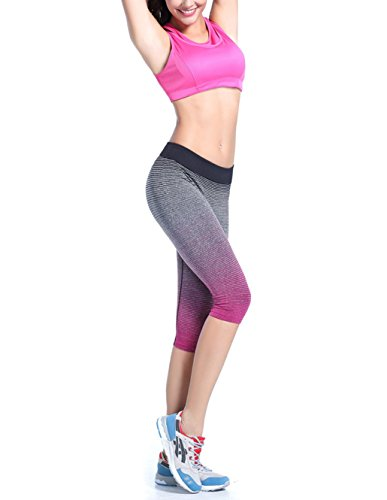 Qutool Collant de sport/course à pied/yoga pour femme Rose rouge