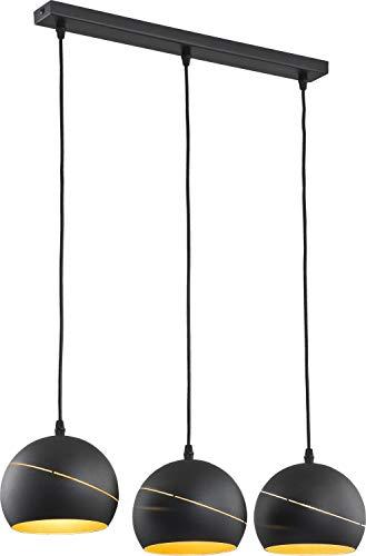 Pendelleuchte 3-flammig Schwarz Gold Metall Modern stylisch Leuchte Esszimmer Esstisch Wohnzimmer Hängelampe - 3-licht-moderne Pendelleuchte