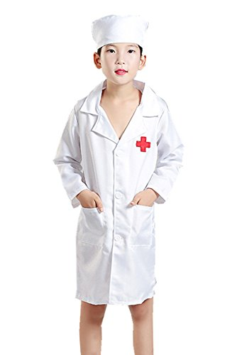 BOZEVON Erwachsene Kinder Junge Mädchen Mann Frau Doktor Bekleidung Krankenschwester Kostüme, Halloween Cosplay Kostüme, Mantel + Hut (Rosa,EU 120 = Tag 130)