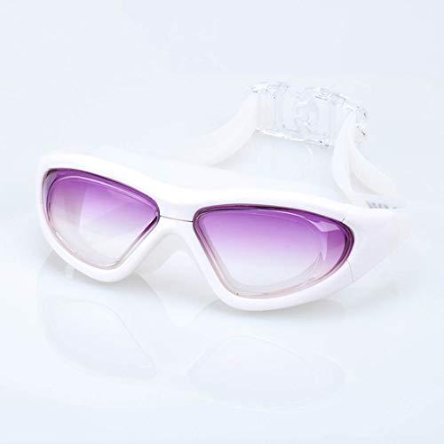 YXB Brille Adult HD Farbverlauf Large Frame Integrierte Anti-Fog-Silikon-Schwimmbrille,gradientpurple