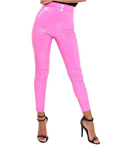 men Vinyl PVC Wet Look Disco Leggings Damen elastische Partei tragen Hose Baby rosa x gro� ()