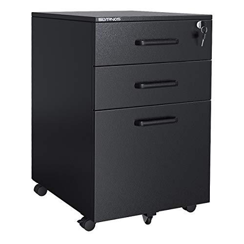 Slypnos comodino in acciaio per ufficio, cassettiere mobile con 3 cassetti, armadietto richiudibile per documenti e cartelle sospese, struttura del mobile pre-assemblata, incluso chiave, nero