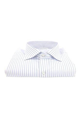 Camicia uomo manica lunga regular fit con collo francese fantasia celeste fondo bianco, bianco, 45