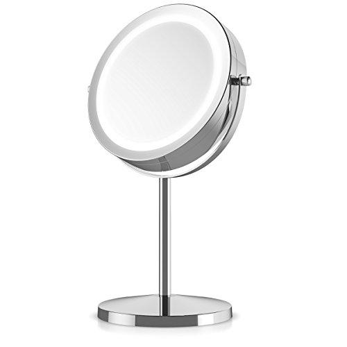 Navaris Kosmetikspiegel mit LED Beleuchtung - Spiegel mit normaler und 5-facher Vergrößerung - Schminkspiegel beleuchtet 360° drehbar - 5