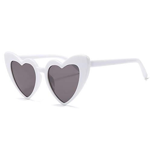 LXXSSRA Sonnenbrille Love Heart Sonnenbrille Damen Luxury Brand Damen Brille Herzförmige Sonnenbrille Girlsuv400 Pink Grey