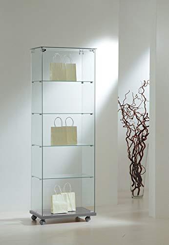 MHN schmale Ausstellungsvitrine Sicherheitsglas abschließbar Glasvitrine eintürig rollbar 60 cm breit 40 cm tief