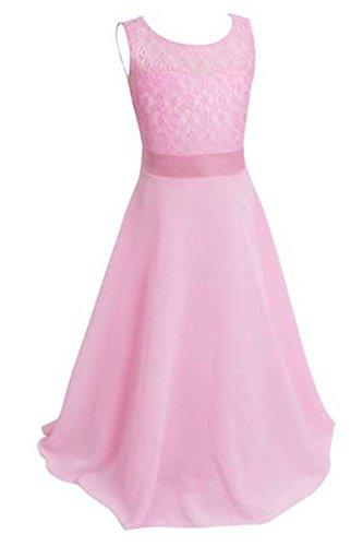 YMING Mädchen elegante Spitze langes Festzug Abend Kleid Rosa 10 11 Years (Cinderella Kostüme Für Jugendliche)