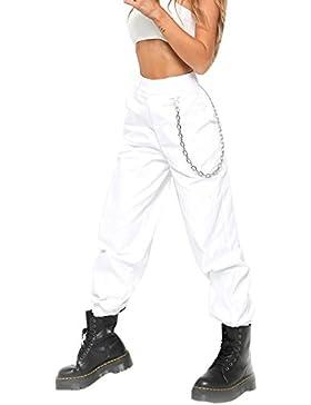 Vepodrau La Mujer Harén Pantalones Casual Solida Suelto Pantalones de Tobillo con Cadena
