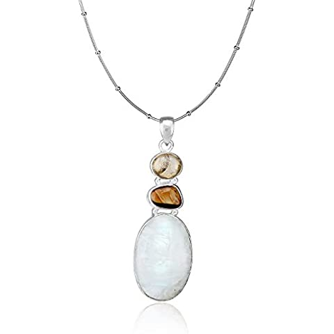 Aarohee in argento Sterling con pietra di luna, colore: marrone con castone in pietra semi-preziosa AAU17-Pendente da donna