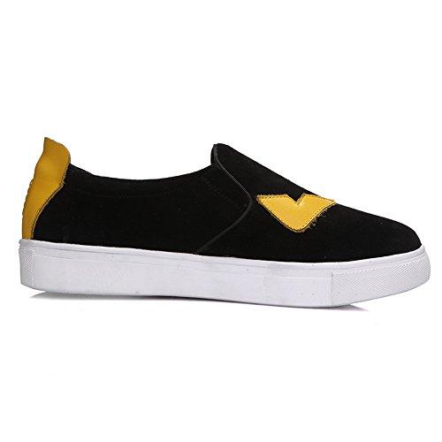 Adee Mesdames couleurs assorties Peau de Mouton Bout Rond Pompes Chaussures Noir - noir