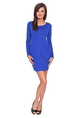 ... 8-18 UK FT2521 Königsblau. Futuro Fashion Subtil Damen Party Minikleid  mit Lang Ärmel Baumwolle Stoff Tulpe Tunika Größen 8-