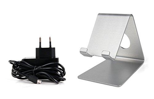 DURAGADGET Smartphone-Halterung in Silber und Micro-USB-Ladegerät für Ihr Bestore A8 | A9 | X8 und KV-MXCS-ZL3S Smartphone