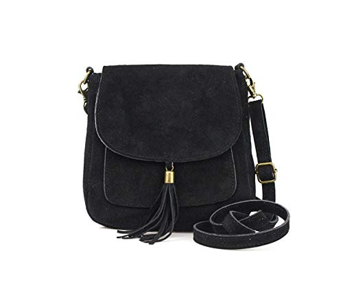Made in Italy Damen Leder Tasche Messenger Bag Henkeltasche Wildleder Handtasche Umhängetasche Ledertasche Schultertasche Beuteltasche Fransen Cross-Over Schwarz -