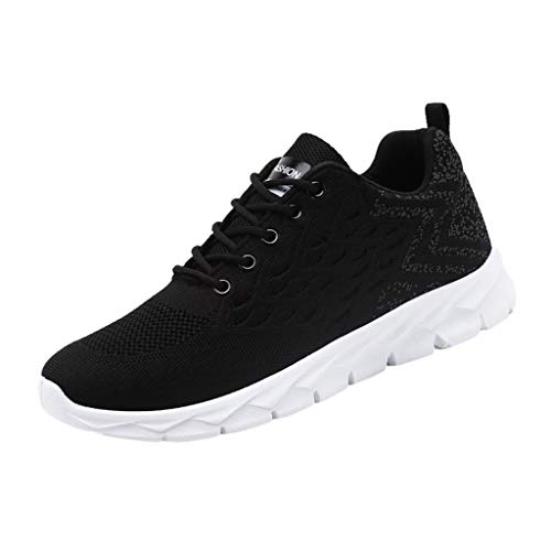REALIKE Herren Sportschuh Sneaker Schwarz, Weiß, Rot Ultraleichte Laufschuhe Freizeitschuhe Atmungsaktiv Leicht Sportlich Geeignet für drinnen und draußen Bergsteigen Lauftraining -