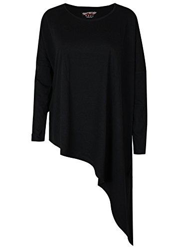 trueprodigy Casual Damen Marken Long Sleeve einfarbig Basic, Oberteil cool und stylisch mit Rundhals (Langarm & Slim Fit), Top für Frauen in Farbe: Schwarz 1063173-2999 Black