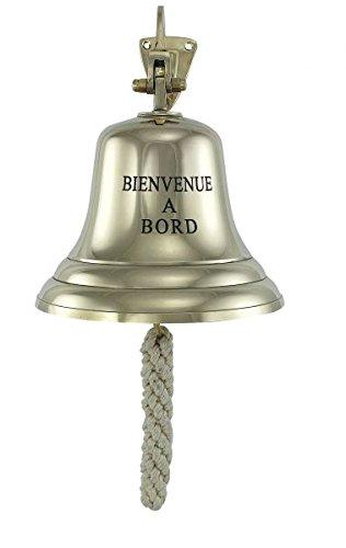 Grandes, campana barco ligero grabado Bienvenue A