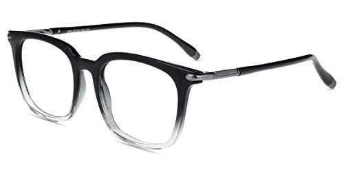 Zinff S929 Klassische Klar Beinstein Schwarz Brille Damen Brille Retro Vintage Rund Blaulichtfilter Brille PC Brille Rund Brille Herren Brille Anti Blaulicht UV-Schutz Linse (S929-Schwarz)