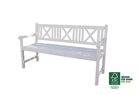 SAM® Garten-Bank Pepe aus Akazien-Holz weiß, FSC® zertifiziert, 150 cm Breite, 3 Sitzer Holzbank, Balkon-Bank aus Akazien-Holz geölt, Garten-Möbel braun, Massiv-Holz-Bank für Terrasse, 2.