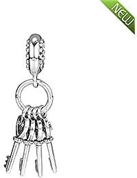 fb69b6a52f34 PANDOCCI 2018 Otoño Llaves de Amor Rojo Cristal Colgante de Plata 925 Bead  DIY se Adapta para Original Pandora…