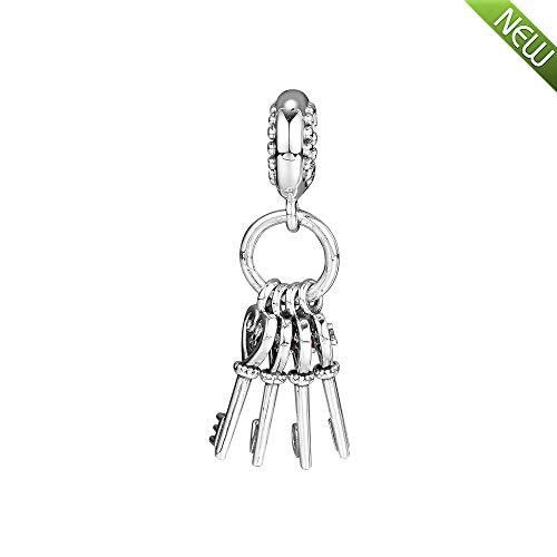 PANDOCCI 2018 Herbst Schlüssel der Liebe rot mehrfarbige Kristall baumeln 925 Silber Bead DIY passt für Original Pandora Armbänder Charm Modeschmuck (Pandora Baumeln Charms Authentisch)