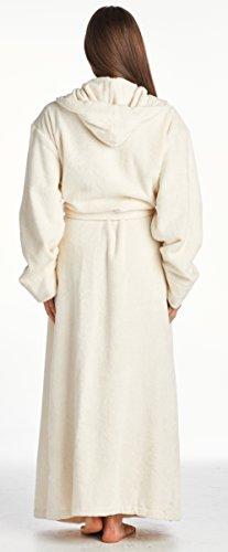 Herren- und Damen-Bademantel von High Style, 100% türkische Baumwolle, Knöchellänge, Schalkragen mit Kapuze Cremefarben