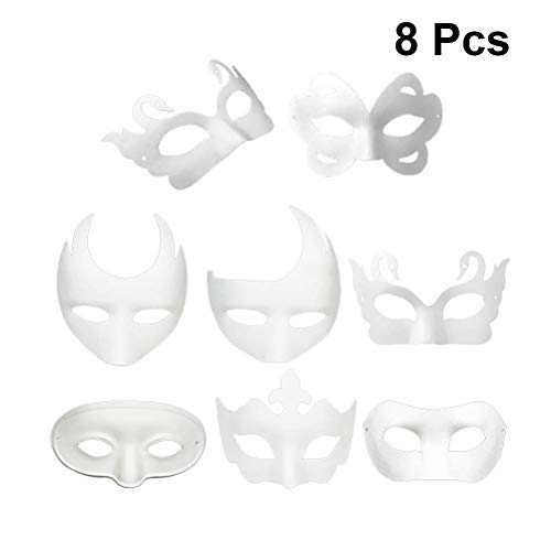 Ghost Kostüm Dance - TLZR 8 stücke DIY Weißbuch Maske Zellstoff Blank Handgemalte Maske Cosplay Maske Hip-Hop Dance Ghost Cosplay Kostüm Halloween Maskerade Party Masken