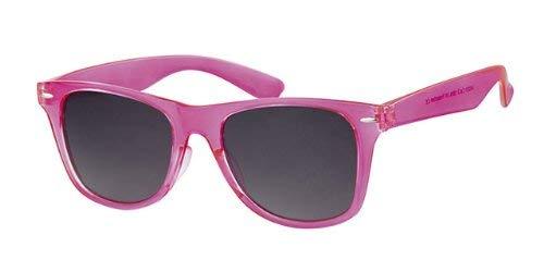 Eyewear World Sonnenbrille, transparenter Rahmen, Schwarze Gläser, Rosa/Rot