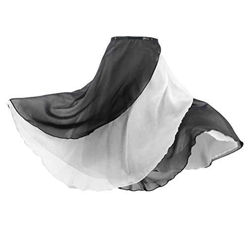 2-schicht Damen Wickelrock (Panda Legends Frauen 2-Schicht Reversible Chiffon Weiß Schwarz Ballett Rock Taille Krawatte Lange Schal Tutu Röcke, 58cm)