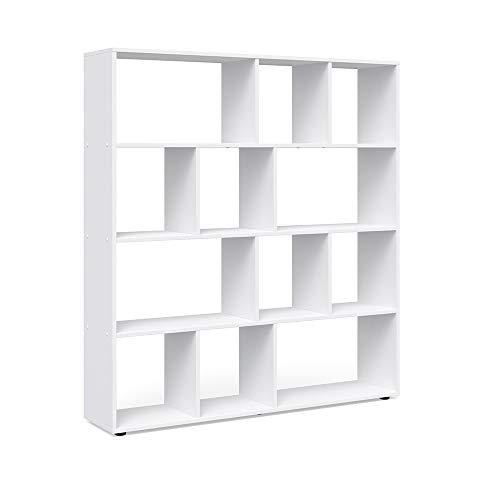 Vicco Raumteiler Pilar 12 Fächer - Raumtrenner Bücherregal Standregal 131,6 x 143 x 29 cm (BxHxT), Spanplatte Aktenregal (Weiß) - Kunststoff Tv-fach