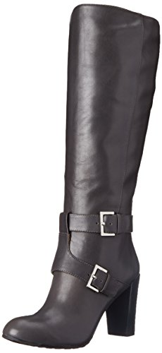 Nine West Skylight Wide Calf Femmes Cuir Botte Dark Grey