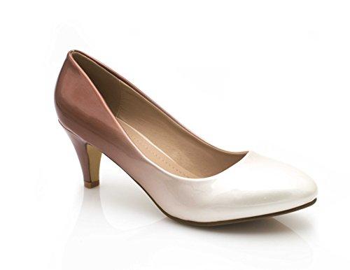Fashion Shoes - Damen Lack Pumps Pfennigabsatz Vorne Rund - Schuhe Pumps Bicolore Farbverlauf Effekt - Damenschuhe Kleiner Absatz 6CM