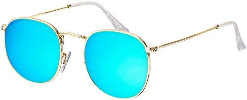 Sonnenbrille La Optica UV 400 Schutz Unisex Damen Herren Retro Rund Round - Gold Rahmen (Gläser: Blau verspiegelt)