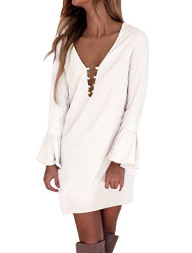 sourcingmap Femme Laiton Anneaux Long Manchon De Bell Col V Profond Robe Droite Blanc