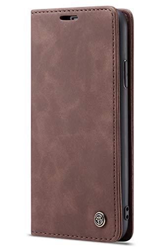 Handyhülle Case Compatible with iPhone 7/iPhone 8, Kusnt Leder Flip Case Handytasche mit Kredit Karten Hülle Geldklammer Unsichtbar Magnet & Stand Funktion Schutzhülle,Koffee