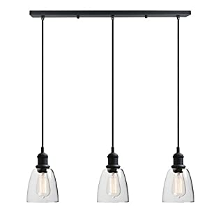 Yosoan Lighting Industrial Vintage Victorian Loft Bar 3 Way Pendant Light Fittings Glass Shade Chandelier, Hanging Ceiling 3 Lights Fixture for Kitchen Dining Room Living Room Restaurant Cafe (Black)