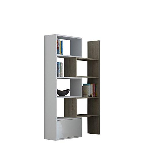 Mirjan24  Standregal Bücherregal Paco, Regal, Dekoregal, Aktenregal, Wandschrank, Universal Regal, HiFi-Regal Büroregal (Sonoma Eiche/Weiß + Weiß Hochglanz)