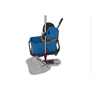 CleanSV® Wischset Bay blau 40 cm - Wischwagen mit Presse und 10 L. Inneneimer für Schmutzwasser sowie ein Mopset 40 cm : bestehend aus 3 x 40 cm Baumwollmop, 40 cm Mophalter und Profi Teleskopstiehl