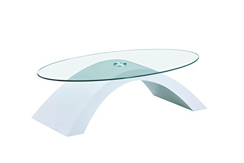 MORE DESIGN Table Basse, Verre, Blanc/Transparent, 110 x 33 x 60 cm