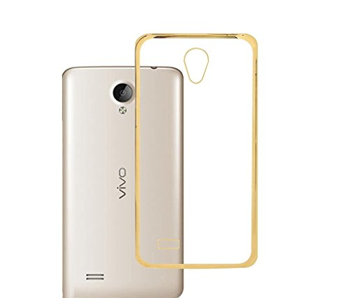 Lively Electroplated Gold Edge Clear Soft Transparent Chrome Back Case Cover For Vivo Y21/ Y21L