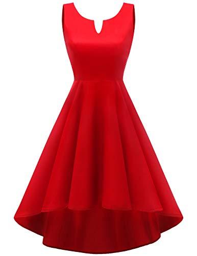 Homrain Damen 1950er Vintage Retro V-Ausschnitt Cocktail Rockabilly Party Hi-Lo Abendkleider Red L