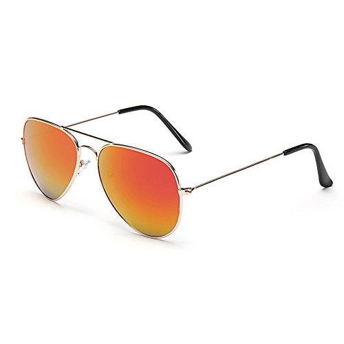 Sonnenbrille Fliegerbrille Brille in vielen Farbkombinationen Klassische Pilotenbrille Verspiegelt Unisex Sonnenbrille Damen Herren Pornobrille Sonne Sommer (C3- Rahmen Gold- Glas Orange verspiegelt)